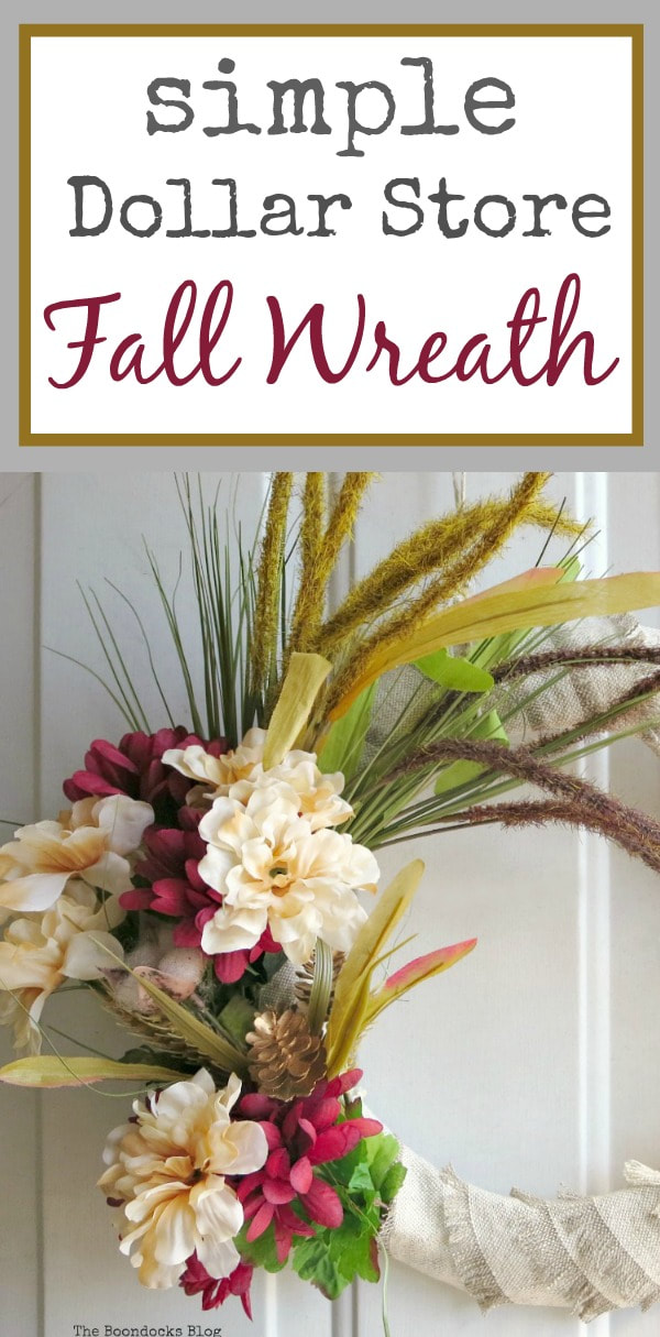 Detail of fall wreath with colorful flowers and grass wheat, #easywreath #easycraft #fallcraft #fallwreath #fabricwreath #fauxflowers #dollarstorecraft How to Make a Simple Dollar Store Fall Wreath www.theboondocksblog.com