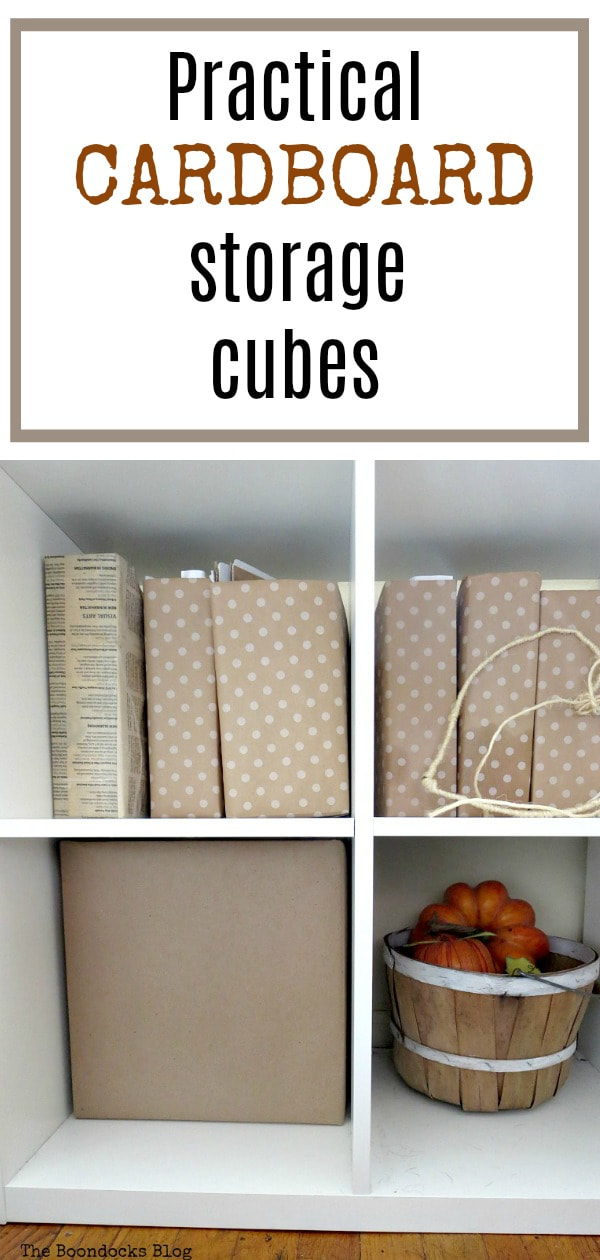 Using cardboard boxes as storage cubes for the Kallax storage bin, #storagebins #storagecubes #paperprojects #easystorage #practicalideas #Kallaxstorage How to Make Practical Cardboard Paper Cubes for Storage www.theboondocksblog.com