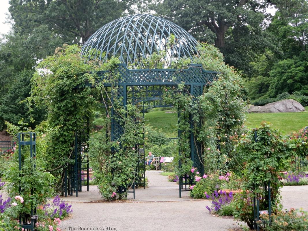 The main gazebo in the center of the garden, The Peggy Rockefeller Rose Garden: one of the best in the world www.theboondocksblog.com