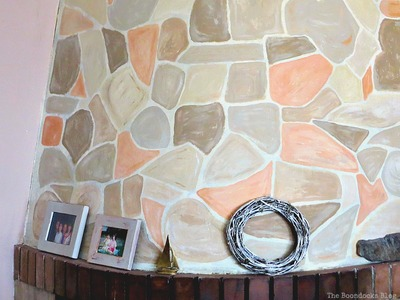 Fireplace painted to look like stone
