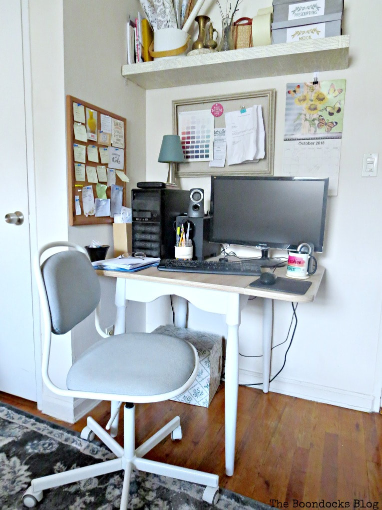 Workstation with computer and chair, How to Create a Calm Look for a Bedroom www.theboondocksblog.com