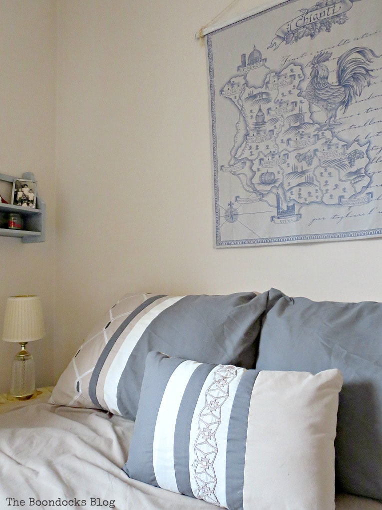 Corner of bedroom, #bedroommakeover #upcycled #calmbedroom #workrestbalance #vintage #Ikea How to Create a Calm Look for a Bedroom www.theboondocksblog.com