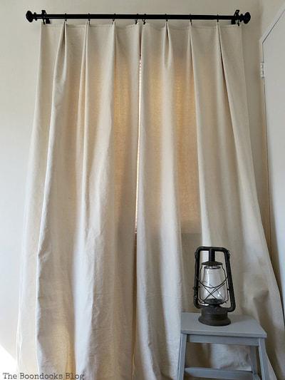Drop cloth pleated curtains