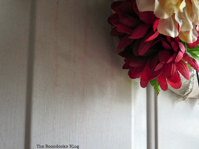 the red dye came from the faux flowers, How to Paint your Front Door for a Sturdy Finish www.theboondocksblog.com