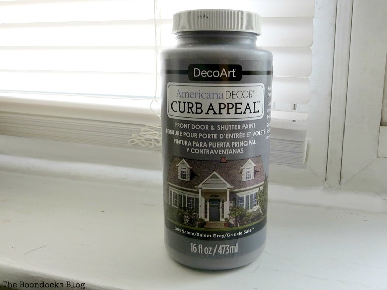 Americana Decor Curb Appeal paint in Salem Grey, How to Paint your Front Door for a Sturdy Finish www.theboondocksblog.com