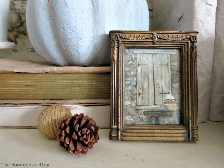 Fall vignette and closeup of framed art , How to Style a Bookcase for Fall 3 Different Ways www.theboondocksblog.com