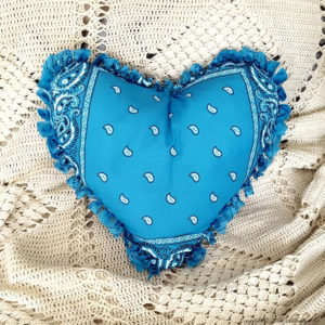 valentine's day crafts blue bandana heart pillow.