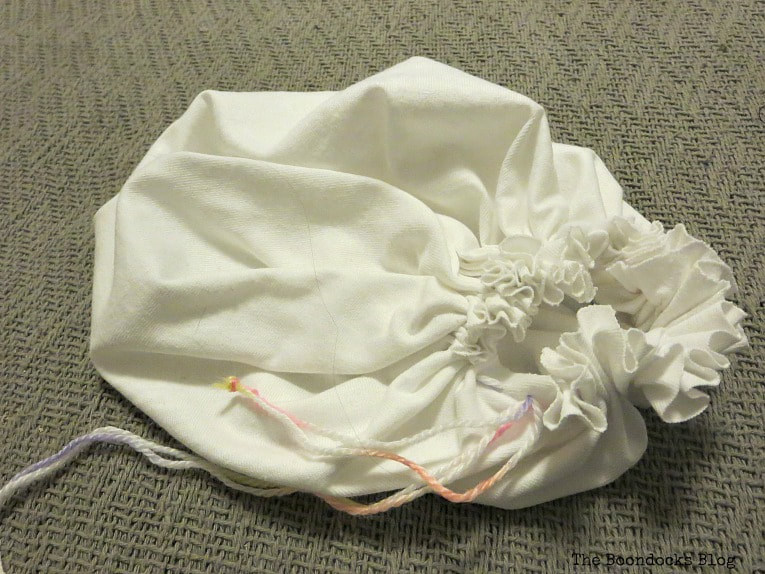 drawstring pouch that is to be the body of the gnome, How to Fail Miserably at Gnome Making www.theboondocksblog.com