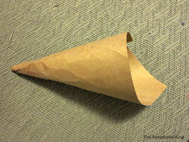 Twisting a piece of cardboard into a cone shape, How to Fail Miserably at Gnome Making www.theboondocksblog.com