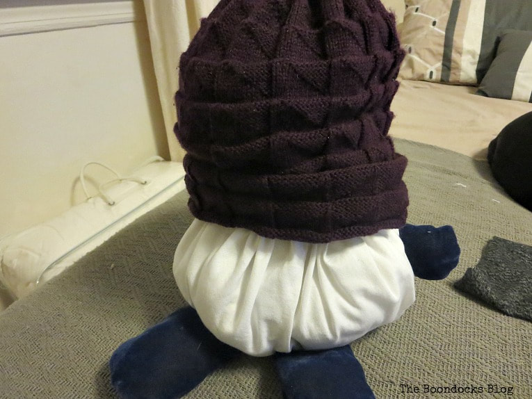 the beanie on top of the pumpkin body, How to Fail Miserably at Gnome Making www.theboondocksblog.com