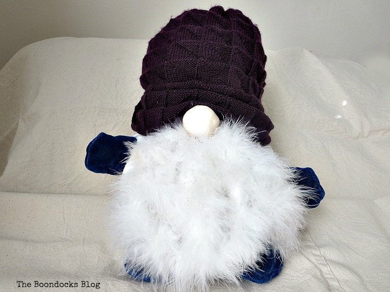 Gnome with purple beanie, How to Fail Miserably at Gnome Making www.theboondocksblog.com