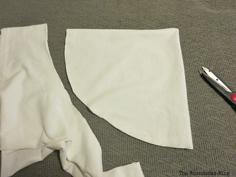 cutting the cotton fabric, How to Fail Miserably at Gnome Making www.theboondocksblog.com