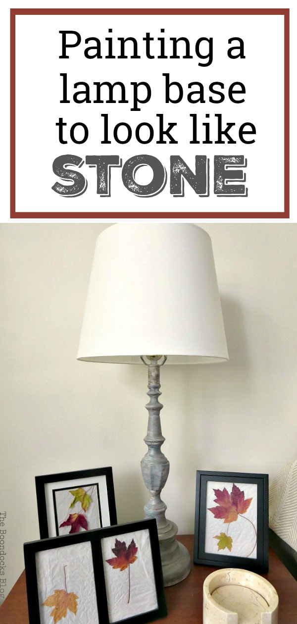 "Painted metal lamp base to look like stone with ""Painting a lamp base to look like stone"" overlay."