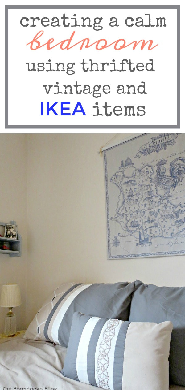 How to create a calm bedroom using vintage, thrifted and Ikea items, #bedroommakeover #ikea #vintage #thrifted #upcycled #workstation #restworkbalance How to Create a Calm Look for a Bedroom www.theboondocksblog.com