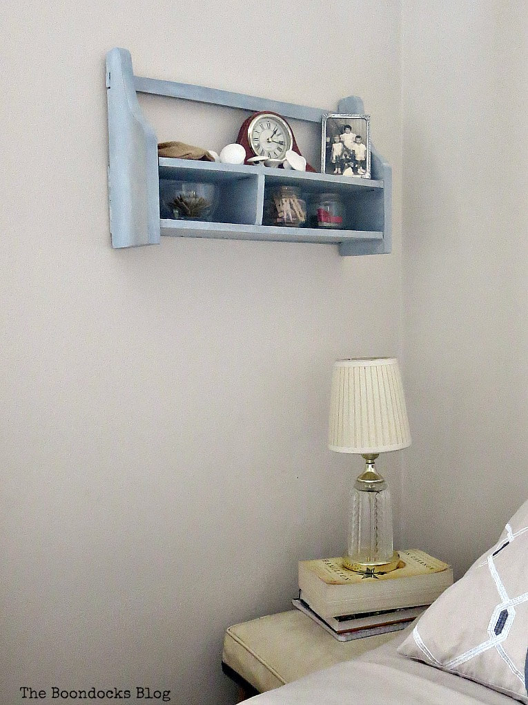 Wall mounted wood cubby shelf, #decorativewax #shineandshimmer #paintedwood #shelfmakeover #OFMP #DecoArtMedia #upcycle A Super Easy Way to Add Shimmer to a Shelf, theboondocksblog