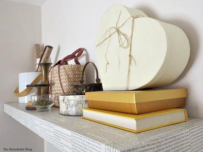 Decoupaged wall shelf
