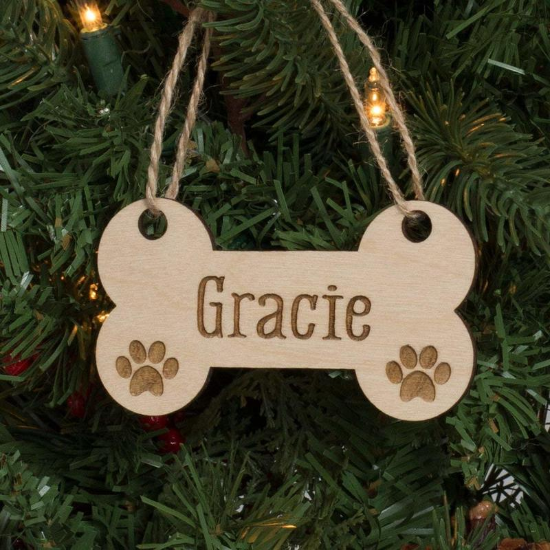 Wood dog bone ornament with dog's name, Ten Amazing Hand-Made Gifts for $10 and Under www.theboondocksblog.com