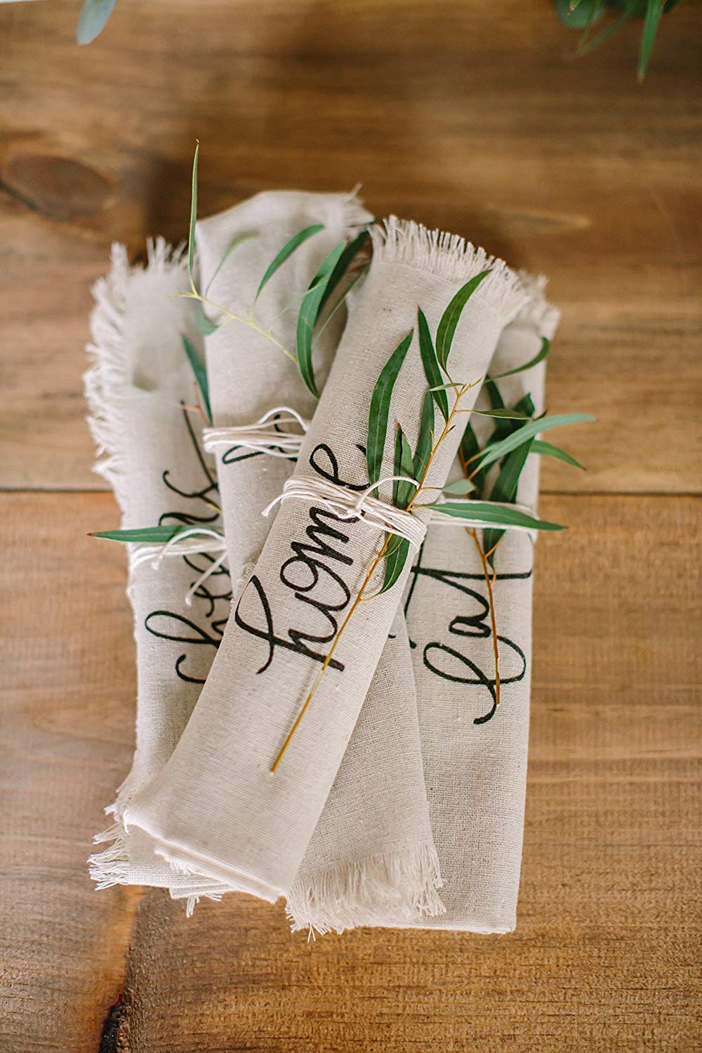 Set of napkins with hand written words, Ten Amazing Hand-Made Gifts for $10 and Under www.theboondocksblog.com