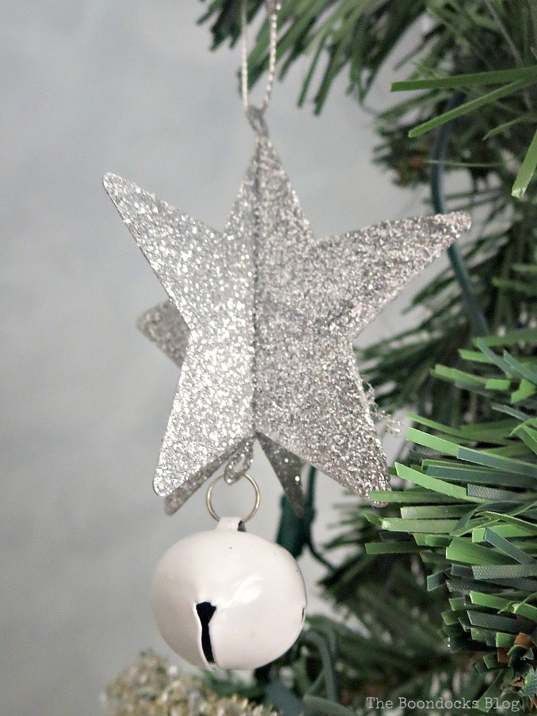 Glitter star with white bell ornament, It's all About the Sparkle of the Christmas Tree www.theboondocksblog.com