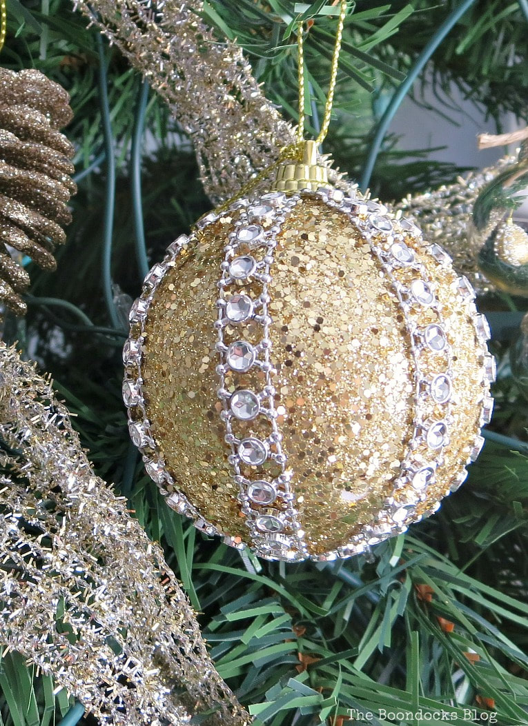 Glitter and jewel ball ornament, It's all About the Sparkle of the Christmas Tree www.theboondocksblog.com