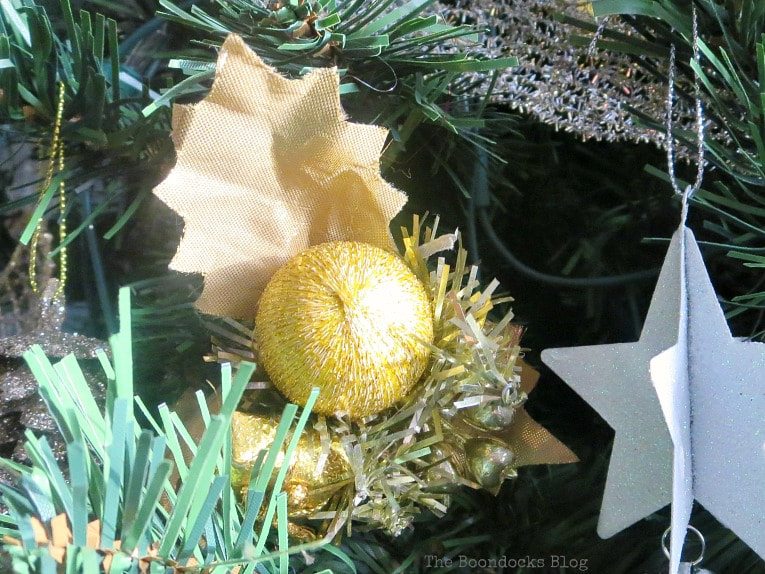Gold ball ornament, It's all About the Sparkle of the Christmas Tree www.theboondocksblog.com