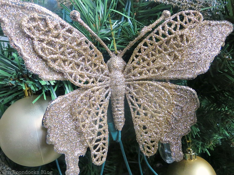 Glitter butterfly ornament, It's all About the Sparkle of the Christmas Tree www.theboondocksblog.com
