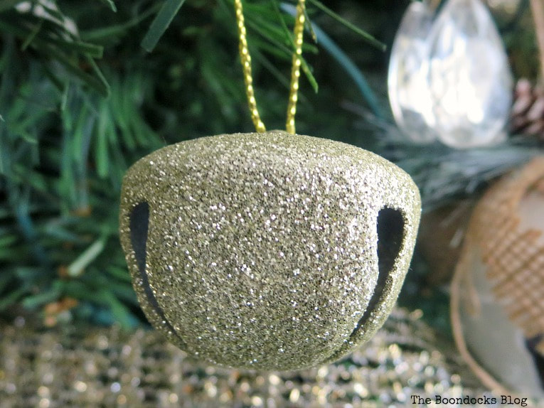 Champagne glitter bell, It's all About the Sparkle of the Christmas Tree www.theboondocksblog.com