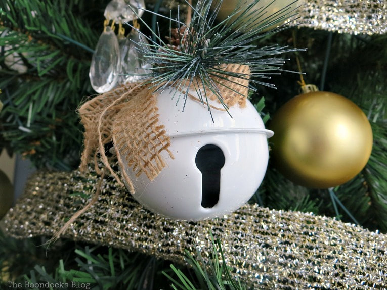 White farmhouse bell ornament, It's all About the Sparkle of the Christmas Tree www.theboondocksblog.com