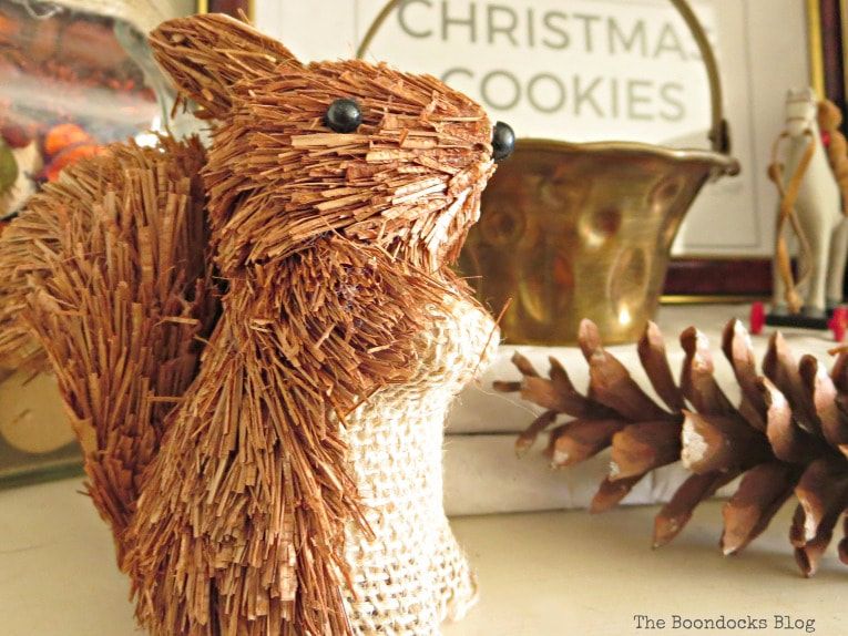 Ornament chipmunk, How to Reuse Old Decor to Make Bright Christmas Vignettes www.theboondocksblog.com