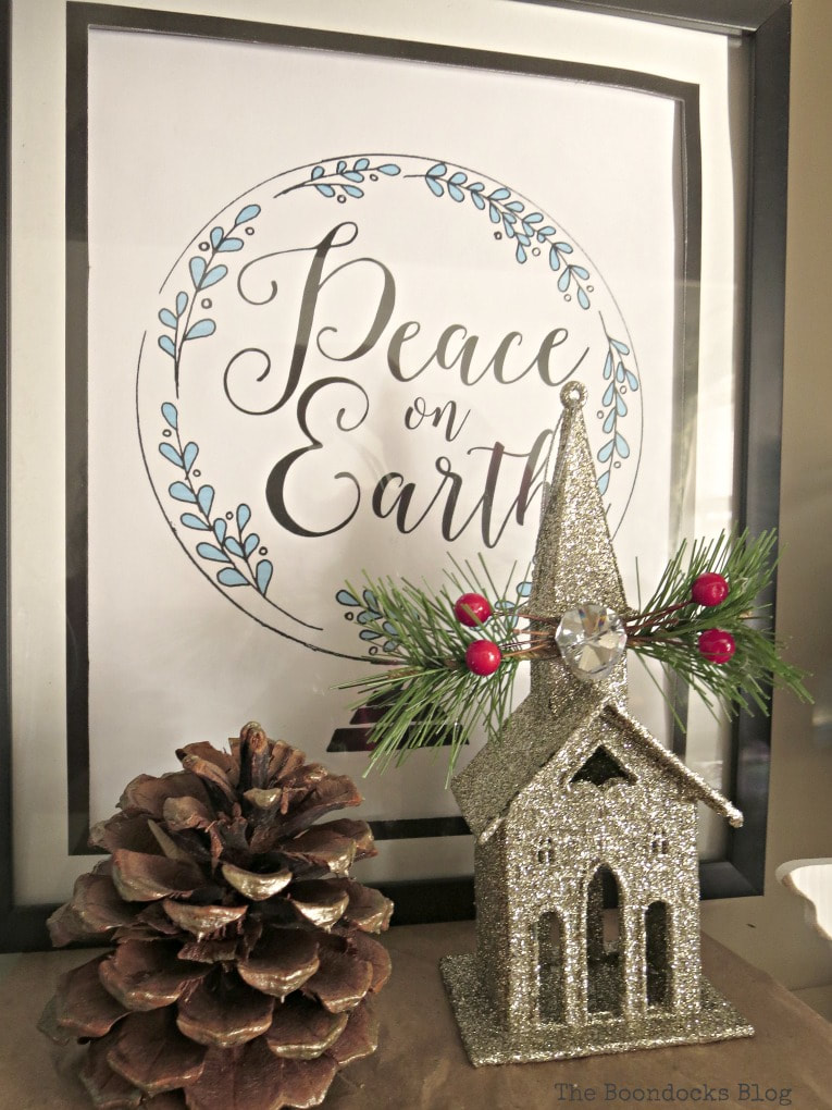 Picture frame with printable, How to Reuse Old Decor to Make Bright Christmas Vignettes www.theboondocksblog.com
