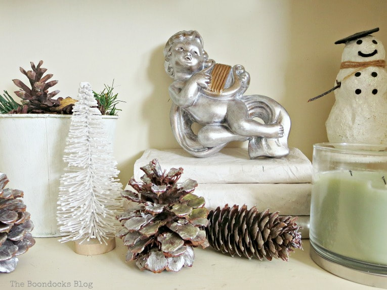 White and silver composition, How to Reuse Old Decor to Make Bright Christmas Vignettes www.theboondocksblog.com