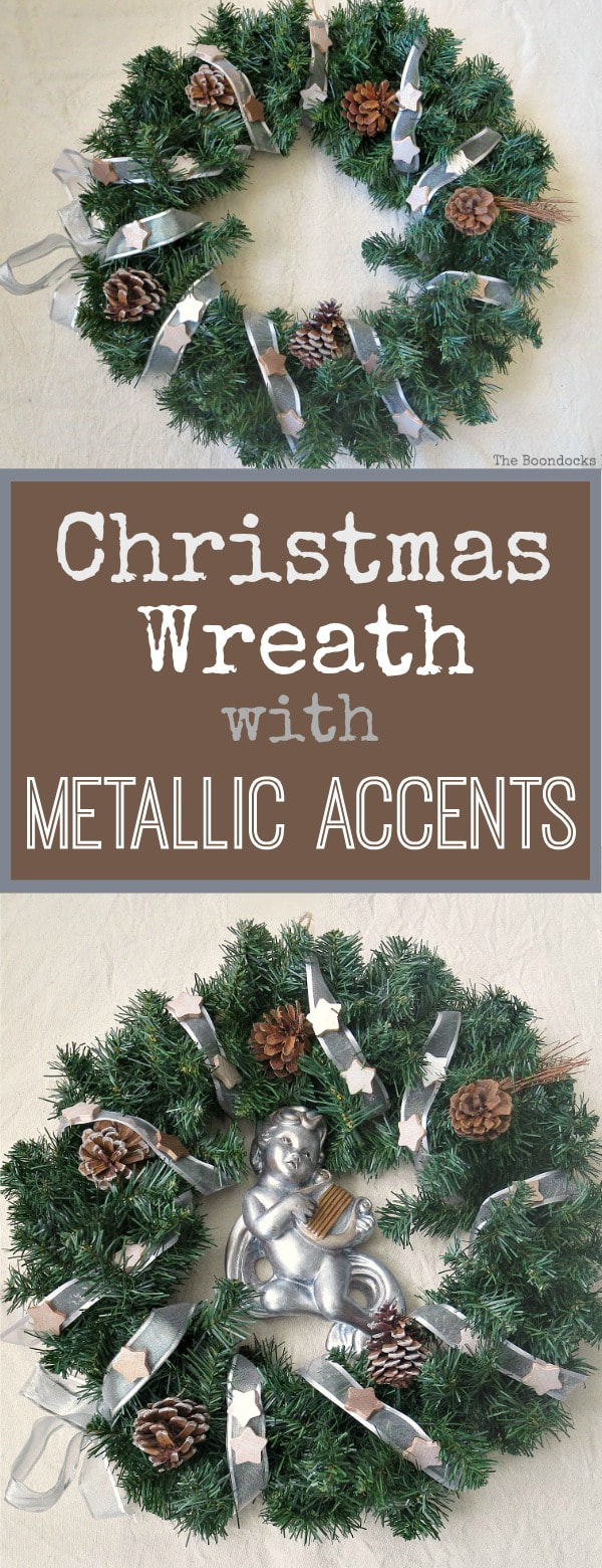 Christmas wreath with metallic accents, #christmaswreath #holidaywreath #metallicaccentwreath #easycraft #wintrerywreath #upcycle #christmascraft #holidaycraft #metalliccherub How to Make a Christmas Wreath with Metallic Accents, www.theboondocksblog.com
