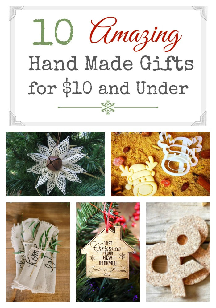 Collage of images showing 10 handmade gift ideas.