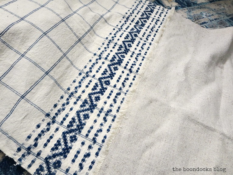 blue and white tea towel, How to Make Easy Pillows out of Fabric Remnants 5 ways www.theboondocksblog.com