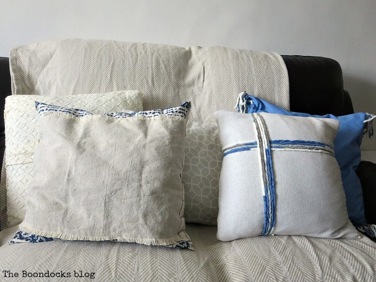 5 pillows, How to Make Easy Pillows out of Fabric Remnants 5 ways www.theboondocksblog.com