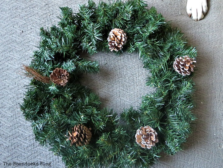 basic pine wreath with pine cones, How to Make a Christmas Wreath with Metallic Accents, www.theboondocksblog.com