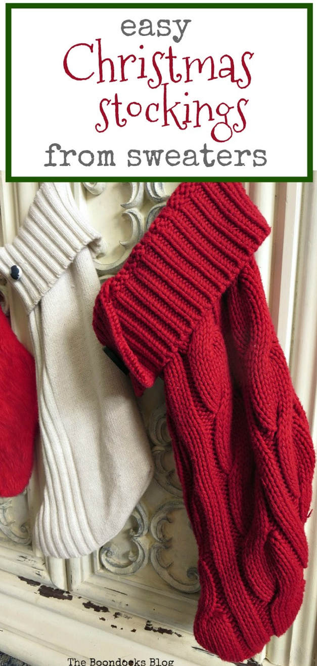Sweater stockings hanging on tv cabinet, #repurposing #repurposedsweaters #Christmasstockings #easycraft How to Make Easy Christmas Stockings from Sweaters www.theboondocksblog.com