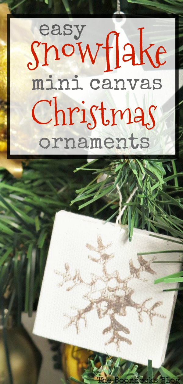 mini canvas with snowflake design on Christmas tree, #christmasornaments #christmascrafts #snowflakeornaments #minicanvas #easycrafts #easychristmascrafts #simplecrafts How to Make Easy Snowflake Mini Canvas Ornaments www.theboondocksblog.com
