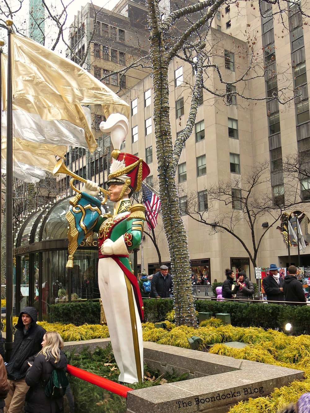 The toy soldier statue, A Visit to the Spectacular Tree at Rockefeller Center www.theboondocksblog.com