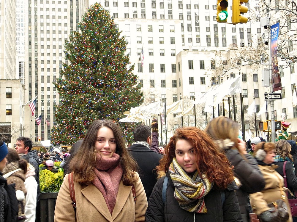 My daughters in front of the tree, A Visit to the Spectacular Tree at Rockefeller Center www.theboondocksblog.com