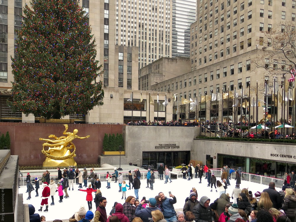 The sunken plaza at Rockefeller Center, A Visit to the Spectacular Tree at Rockefeller Center www.theboondocksblog.com