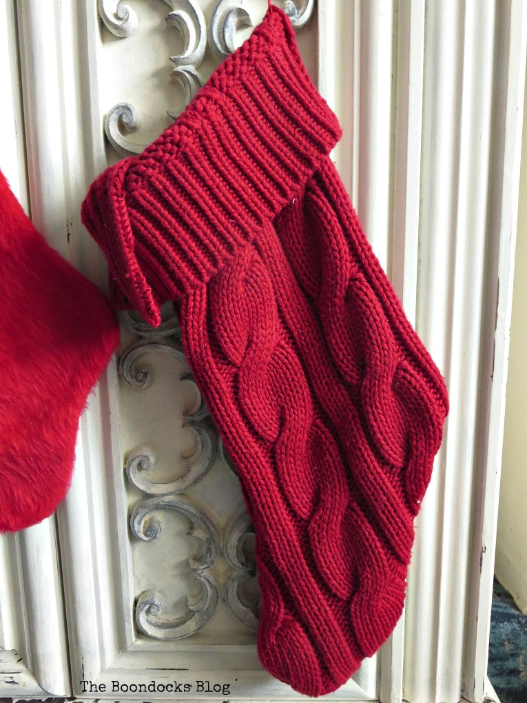 finished stocking with turned over top as cuff, How to Make Easy Christmas Stockings from Sweaters www.theboondocksblog.com