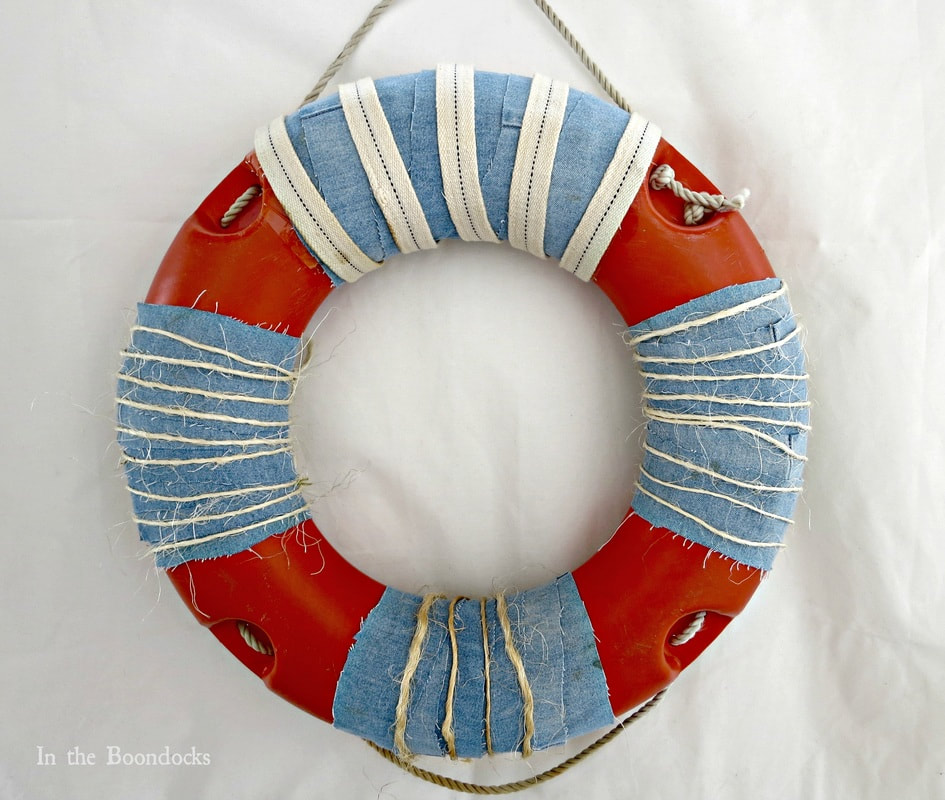 Re-purposed clothes as wreath decoration, 15 Ways to Re-purpose Old Clothes into Something New www.theboondocksblog.com