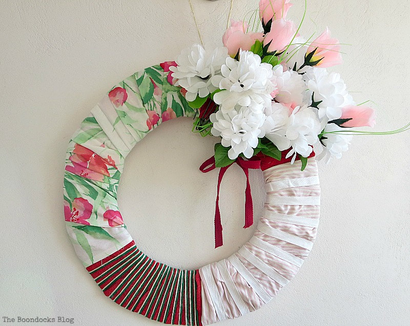 How to repurpose old clothe into a spring wreath.