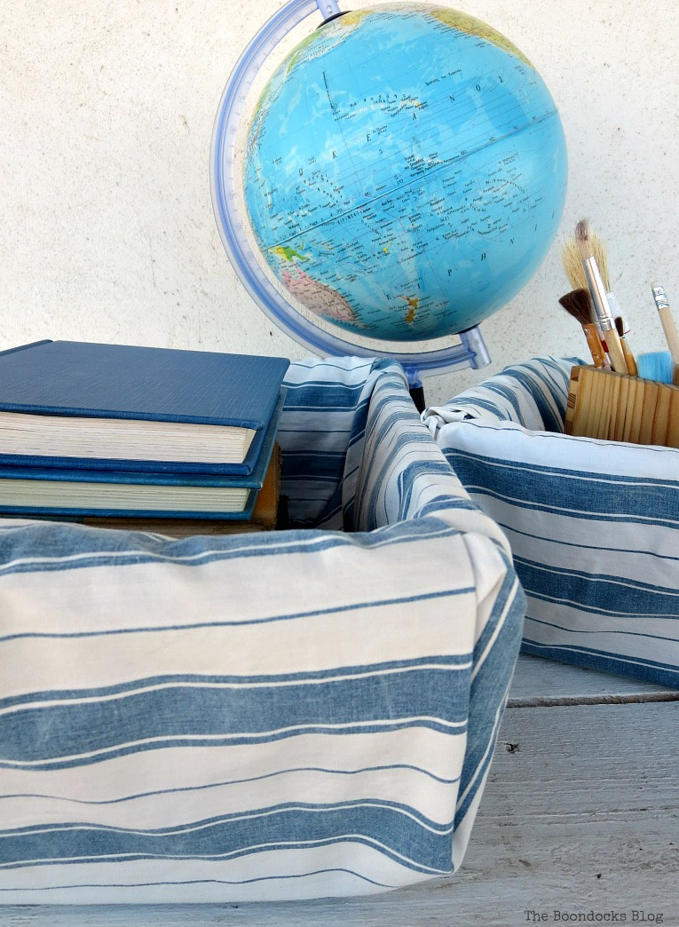 blue and white fabric baskets.
