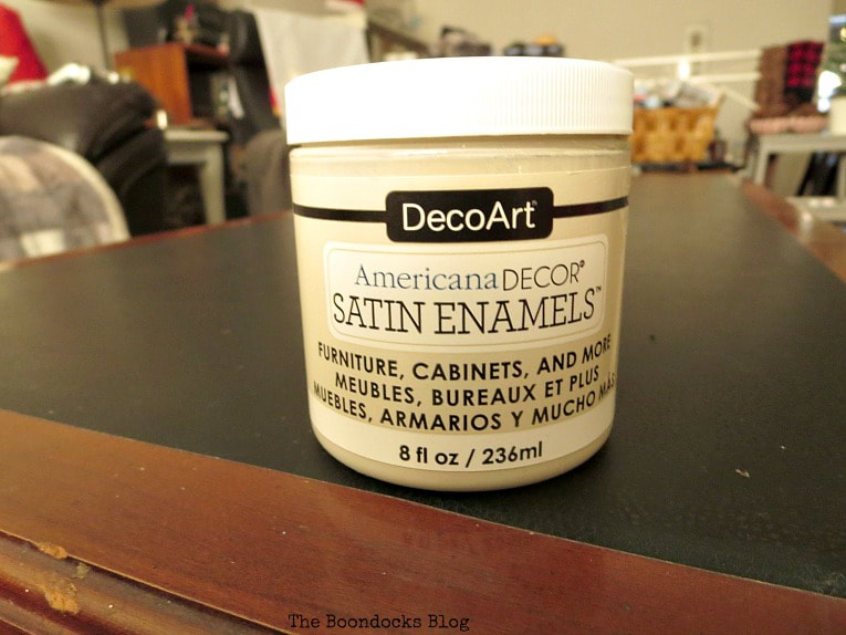 Americana Satin Enamels Paint, How to Re-Invent your Old Coffee Table With Paint www.theboondocksblog.com