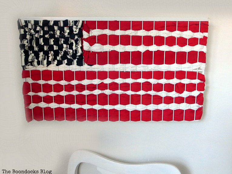 American flag made from repurposed fabric.