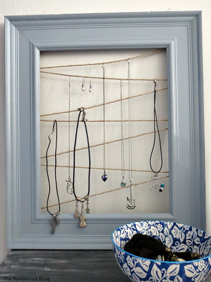 Picture Frame used as a jewelry holder, The Most Popular Posts for 2018 www.theboondocksblog.com