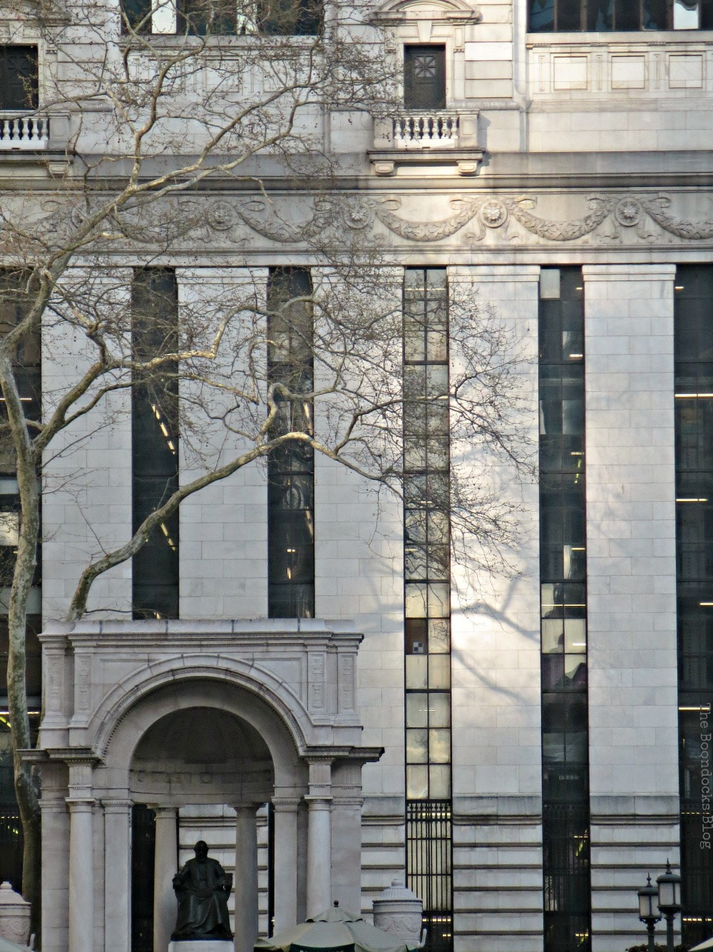 Close up of Library Building and patches of sunlight, Bryant Park New York, #NewYork #BryantPark #Travel #photography #photoessay #manhattan #midtown #publicparks A Visit to the Restored Bryant Park and its Surrounding Areas www.theboondocksblog.com