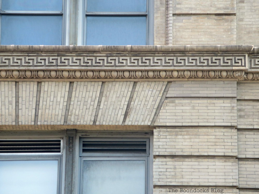 Ornate details on building, A monumental Surprise at Hudson Square in New York, www.theboondocksblog.com